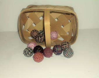 "12 assorted Primitive  Rag Balls, 1 1/8"" diameter Homespun Fabric and prim Material Wrapped Primitive Decor, Bowl Filler PD7052"