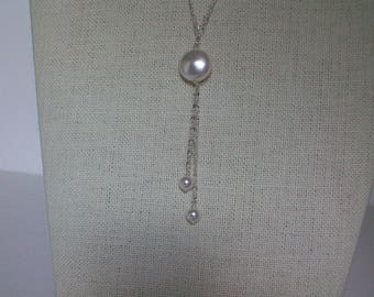 White Pearl and Silver Tassel Necklace