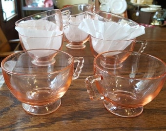 Fostoria Mayfair Pink coffee or tea cups - set of 8