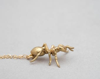 Ant Pendant- Delicate Insect-Inspired Necklace in Brass, Bronze, Sterling Silver