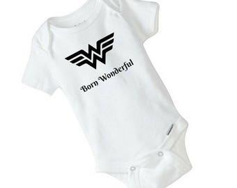 WONDER WOMAN onesie, Baby girl onesie, Baby Shower Gift, Baby bodysuit, Baby Girl Power, strong woman,