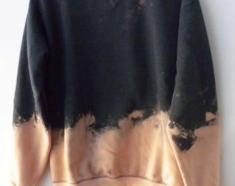 Gray Sweatshirt, Gray crewneck sweatshirt, Acid wash sweatshirt, dip dyed sweatshirt, jumper, Boho Chic, Grunge, Black Friday, Cyber Monday