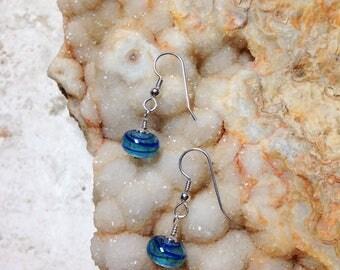 OOAK Beachy Blue Sterling Silver Earrings