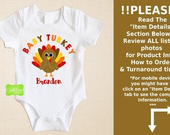 Personalized Turkey Iron On - Baby Brother Turkey Iron On - Turkey Iron On - Turkey Transfer - Baby Brother Decal - EMAILED or SHIPPED
