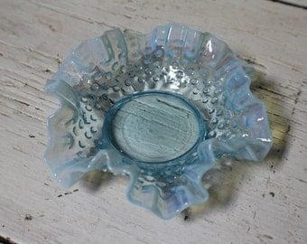 Vintage Fenton Art Glass Opalescent Ruffle Candy Dish