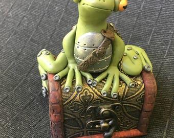 Polymer clay Steampunk Frog
