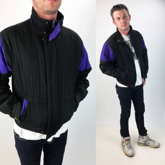 90's Mens Puffy Winter Coat Black & Purple Athletic Ski Coat Medium - Quilted Zip Up Mens Hipster Basic Everyday Winter Outerwear