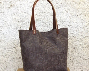 Tote bag Brown leopard Suede, handbag, tote bag, tote bag, handles, shopping bag, handmade in France
