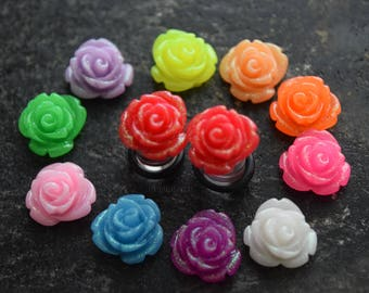 Handmade Large Glitter Rose Flower Plugs Gauges Ear Tapers Solid Steel Acrylic Saddle Straight 2g 4g 6g