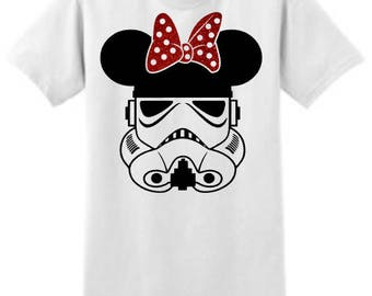Storm Trooper Shirt Topped With An Adorbale Minnie Mouse Bow. Such A Fun Shirt For Those Park Days!