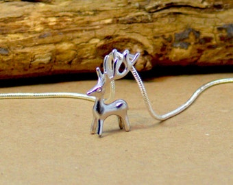 Deer Silver Necklace, Solid silver pendant, Small fine Deer necklace, Stag Elk Deer Necklace, 925 Sterling Silver Necklace, UK Store