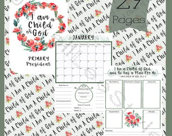 Primary Presidency Planner 2018 Yearly Calendar with Cover Pages, Primary Planner, LDS, I Am a Child of God - Printable Instant Download