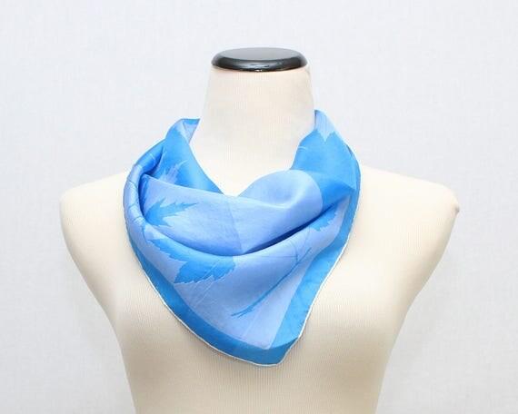 Vintage 1950s Blue Silk Vera Neumann Scarf