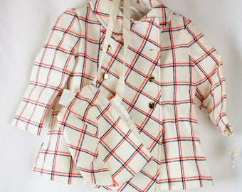 Vintage 1960s White Red Navy Plaid Double Breasted Children's Girls Toddlers Pea Coat SZ 2 With Bonnet NWT G25
