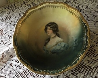 Free Shipping Antique Three Crown China Porcelain Hand Painted Portrait Bowl Germany Signed Scalloped Gold Edge