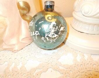Vintage Shiny Brite Nursery Rhyme Little Bo Peep Green Stencil Christmas Ornament