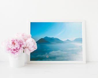 Ocean and mountain- digital download instant print - sea photography waves beach coastal modern minimal