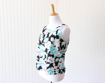 Vintage Tank Top Floral T Sleeveless Blouse 80's Women's Small Top