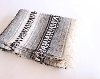 Vintage Mexican Blanket Black White Gray Serape Textile Throw Saltillo Quilt Southwestern Throw Mexican Blanket