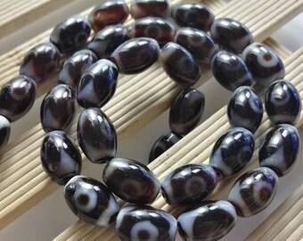 One Full Strand 9 * 12 mm Oval Tibetan Agate Beads -Tibetan Agate Prayer Beads ,Tibetan Dzi Beads ,Buddha Beads , wholesale Tibet agate