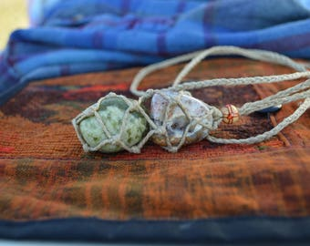Interchangeable Hemp Wrapped Crazy Lace Agate & Serpentine Stone Necklace