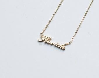 Florida Bar Necklace, Dainty Necklace, Tiny Florida Necklace, dainty Florida necklace, Florida letter necklace,