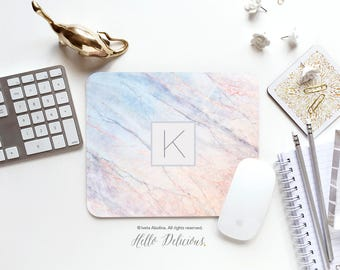 Marble Mouse Pad Monogram Mouse Pad Mousepad Blush Marble Mouse Mat Mouse Pad Office Mousemat Rectangular Personalized Mousepad Round 123.