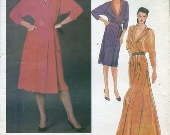 80s Vogue International Designer 2639 Belinda Bellville Misses' Dress Sewing Pattern UNCUT