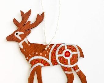 Hand Painted Wooden Ornament- Deer Tsalagi Cherokee Made