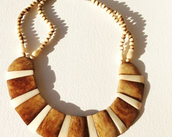 Necklace -  fantastic quality marbled stone bead necklace costume jewellery