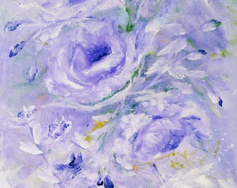 purple roses, 11 x 14 original acrylic painting