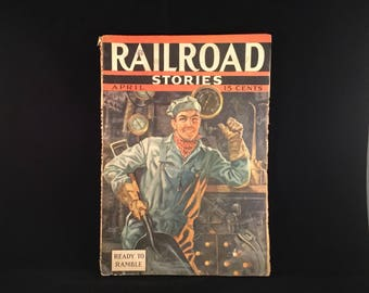 RAILROAD STORIES Magazine Vintage RARE (1937) Pulp Magazine