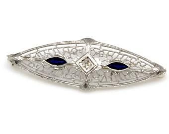 14k White Gold Sapphire and Diamond Brooch Vintage Art Deco