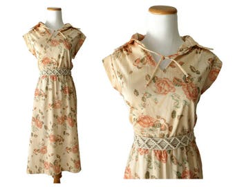 70s Sundress Boho Dress 1970s Hippie Peach Floral Midi Wood Grain Print Size Medium Large