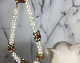 Freshwater Pearl & Baltic Amber Bracelet