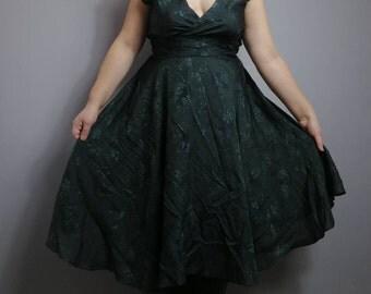 Bottle green vintage dress / cross over green dress / V neck party dress / 60s embossed floral print / bias cut dress