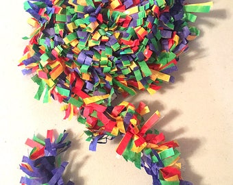 Rainbow Tissue Fringe Garland Festooning (Primary Colors), 25 Feet - by Celebration Lane