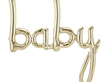 "White Gold ""baby"" Script Balloon Banner 