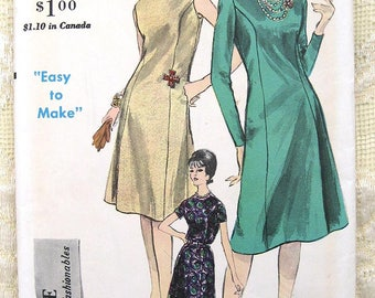 60s Easy Vogue Princess Seamed Dress Sewing Pattern 5629 Size 10  Bust 31""