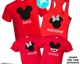Disney Family shirt GLITTER set Mickey minnie red  vacation T-Shirt Tank Top race running kids Dri Fit Youth Toddler Baby Girls