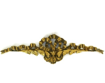 Antique French Bronze Furniture Ornament. 19th Century Furniture Molding. Ribbon Bow and Acanthus Leaf Motifs.