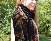 velvet scarf or shoulder wrap, hand-dyed shibori, one of a kind art to wear, black, golden green, copper, magenta, and silver