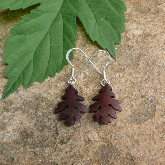 Teeny Tiny Oak leaf Wood Earrings, Natural jewelry, Itty Bitty silver leaf earrings, Dangle drop Leaf jewelry, Boho Hippie earrings,