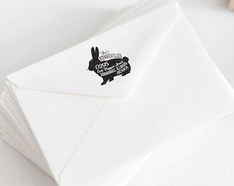 Bunny Rabbit Return Address Stamp, Personalized Rubber Stamp, Pet Rabbit Stamp, Farm Rubber Stamp