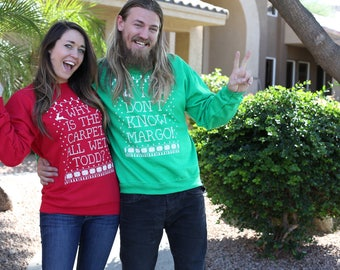 Matching Christmas Sweaters. Couples Matching Christmas Sweaters. Funny Couples Christmas Sweaters. Womens Sweater. Mens Sweater. Clothing.