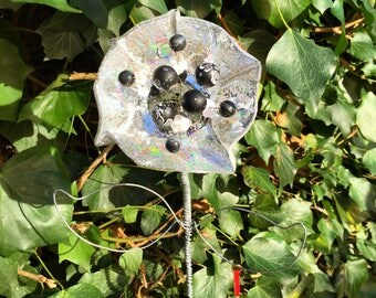 Upcycled CD Flower - 'Fancy Pansy'