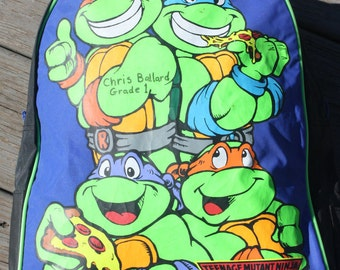 Vintage 1991 Mirage Teenage Mutant Ninja Turtles Backpack.