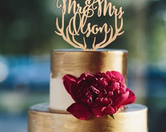 Mr and Mrs cake topper, deer antlers cake topper, wedding cake topper, rustic wooden cake topper, antlers topper, personalized topper