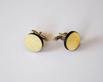 Sparkly cufflinks, Wedding cufflinks gold, Leather cuff links, Leather  gift for groom, Unisex cufflinks, Men leather cufflinks,Casual smart
