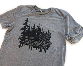 Mens Tshirt Robert Frost Poem, Stopping by Woods on a Snowy Evening, the woods are lovely dark & deep...I have miles to go before I sleep